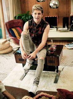 Niall Horan :: sleeveless plaid shirt