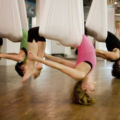 Aerial yoga  I'm totally trying this soon!