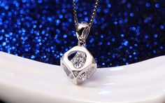 Sterling silver necklace with rhinestone