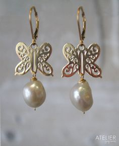 Butterfly and Barroque Pearl Earrings by ATELIERGabyMarcos on Etsy, $59.00