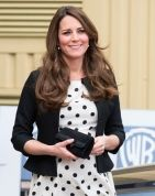 Princess Catherine looks amazing in this polka dot  dress... (great for hiding a tummy)...