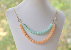 Double Strand Bib Style Statement Necklace with Aqua and Peach Jade.  Chunky Strand Statement Necklace. on Etsy, $46.00