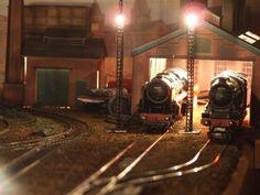 Model Train Engine Shed Night