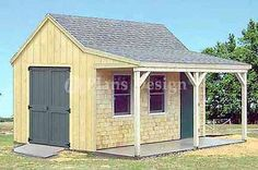12' x 16' Cottage / Cabin Shed With Porch Plans #81216