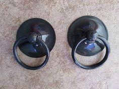 Pair of Large Antique Black Circular Brass by GadoGadoLtdEdition