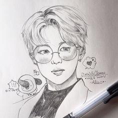 Kpop Drawings, Art Drawings Sketches Simple, Pencil Art Drawings, Simple Tumblr Drawings, Simple Disney Drawings, Jimin Fanart, Kpop Fanart, Doodle Art Journals, K Pop