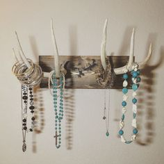 mounted antler jewelry holder, real deer antler,  jewelry holder, wall mounted jewelry holder, antler jewelry stand, jewelry display by TurquoiseOwlDesign on Etsy https://www.etsy.com/listing/239961591/mounted-antler-jewelry-holder-real-deer