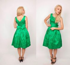 1950s Kelly Green Cocktail Party Dress