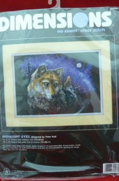 Dimensions No Count Cross Stitch Kit Wolf Midnight Eyes by Peter Kull
