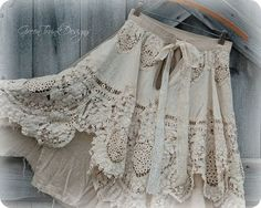 Shabby Lace Skirt Mori Girl Clothing by GreenTrunkDesigns