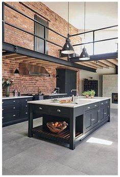 Industrial Kitchen Design, Vintage Industrial Decor, Industrial Interiors, Industrial House, Modern Kitchen Design, Modern Interior Design, Industrial Lighting, Industrial Furniture, Industrial Living Rooms