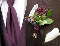 drumstick allium and blueberry boutonniere tied with purple velvet ribbon Purple Wedding, Floral Wedding, Wedding Bouquets, Wedding Flowers, Ivory Wedding, Wedding Groom, Fall Wedding, Dream Wedding, Wedding Dreams