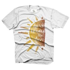 """We introduced our newest watercolor design on the first day of summer…""""Here Comes the Sun"""" is a nod to both the Beatles and our most favorite season, sweet summertime.   ***Turnaround time on orders will be 4 WEEKS!!  Preorders will be taken on the 15th and 30th of every month.  All designs are printed on American Apparel shirts except onesies, they are printed on Laughing Giraffe and we proudly print locally. Our Fin First logo tags are hand sewn on the INSIDE AND OUT..."""
