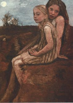 "huariqueje: "" Two Girlfriends of Bergedorf - Ottilie Reylaender German , 1882-1965 Oil on cardboard, 40 x 28 cm. """