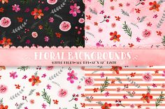 Floral patterns - watercolor paper by DigitalCloud on Creative Market