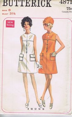One Piece DRESS Vintage SEWING PATTERN BUTTERICK SIZE 8 BUST 31.5 HIP 33.5 UNCUT