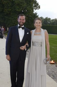 Hereditary Grand Duke Guillaume and Hereditary Grand Duchess Stephanie attending a charity dinner to benefit the Fondation St. Luc.