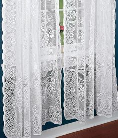 $ 363 - American Balmore Lace Rod Pocket Panels, includes panels and shade for both windows and $ 26 shipping.