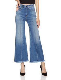 Women's June High Waisted Wide Leg Crop Jean With Pin Tucks - Kanti - Clothing, Jeans Blue Denim Jeans, Blue Pants, Cropped Jeans, Loose Jeans, La Idol Jeans, Plus Size Maxi Dresses, Short Sleeve Dresses, Flannel Lined Jeans, Very Short Dress