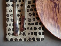 block printed linen napkins set of four black by juliepeach, $38.00