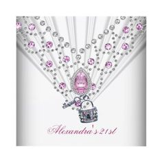 21st Birthday White Pink Jewel Image Key Lock Custom Invitation