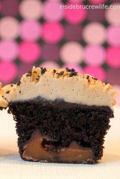 Caramel Caffe Mocha Cupcakes - mocha cupcakes with a hidden caramel candy and coffee buttercream http://www.insidebrucrewlife.com