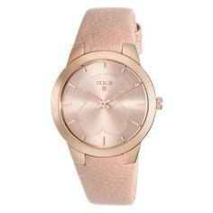 Reloj TOUS B-face de acero IP rosado con correa de piel nude