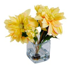 Faux Dahlia Arrangement in Yellow at Joss & Main