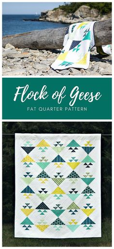 Flock of Geese by Cheryl of Meadow Mist Designs is a modern take on the traditional Birds in the Air quilt block.  The pattern includes instructions for both baby and lap sized quilts.  #FlockofGeeseQuilt #MeadowMistDesigns #FatQuarterPattern Triangle Quilt Pattern, Pattern Blocks, Triangle Quilts, Quilting Tutorials, Quilting Projects, Quilting Designs, Modern Quilt Patterns, Quilt Patterns Free, Crafty Projects