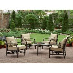 Better Homes And Gardens Paxton Place 5 Piece Patio Conversation Set With  Fire Pit, Seats 6 $699 | Outdoor Living | Pinterest | Fire Pit Seating, ...