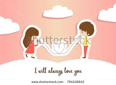 I always love you. Illustration of a man and a girl take communication with the cans. Good for valentines card.