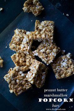 Peanut Butter Marshmallow Popcorn Bars | www.diethood.com | Chewy peanut butter and marshmallow popcorn bars studded with salty, crunchy peanuts | #recipe #popcorn #NetflixKids #ad