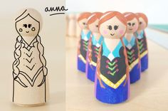 How to paint an anna peg doll from disneys frozen!