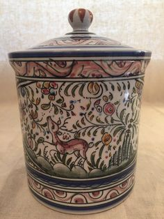 CERAMICA DE COIMBRA PORTUGAL HAND PAINTED SIGNED CANISTER JAR W/ LID COVER