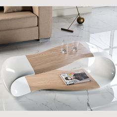 Contemporary curved hi9gh gloss coffee table