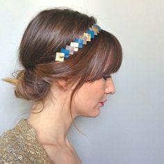 """Head-band femme en Cuir modèle """"graphique"""" Bleu canard-Or-Taupe -->  bijoux de cheveux accessoire de coiffure fait main idée cadeau femme lu..."""