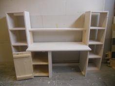 ZON6 Steigerhout Bureau met kast en boekenplank (1)