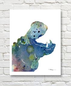 Blue Hippo Art Print  Abstract Watercolor by 1GalleryAbove on Etsy