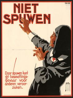 """No Spitting"" 1925, poster by Jacob Jansma Hoogspanning!: More Dutch Safety Posters - 50 Watts."