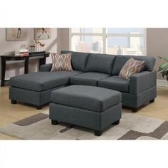 Poundex Bobkona Lexington 3 Piece Reversible Sectional Sofa in Blue Gray