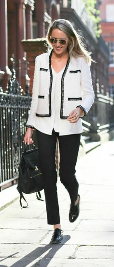 black satin trimmed white tweed crop jacket with split front silk shell, black slim ankle pants, black patent oxford brogues + black backpack or rucksack with gold hardware {st. john knits, theory, topshop, reiss}