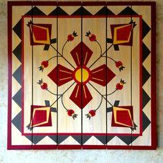 Barn Quilts by Chela Barn Quilt Designs, Barn Quilt Patterns, Quilting Designs, Patchwork Patterns, Amish Barns, Rustic Quilts, Painted Barn Quilts, Barn Signs, Barn Art