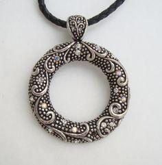 Lia Sophia AB Rhinestone Faux Marcasite Pendant Necklace Signed Jewelry
