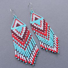 Native American Seed Bead Patterns | Turquoise Native American Inspired Seed Bead Earrings - long beaded ...