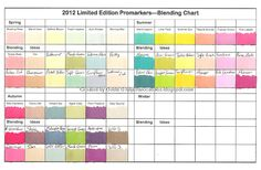 Limited Edition 2012 Promarker colours and blending suggestions