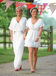 Essex do boho: Sam and Billie Faiers embraced hippie chic as they filmed a scene for TOWIE at Elms Farm on Wednesday