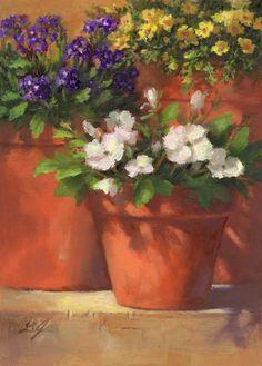 "Daily Paintworks - ""Summer Blooms"" - Original Fine Art for Sale - © Linda Jacobus Paintings I Love, Beautiful Paintings, Watercolor Flowers, Watercolor Paintings, Watercolours, Still Life Art, Arte Floral, Fine Art Gallery, Art Oil"