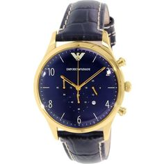 Emporio Armani Men's Classic AR1862 Blue Leather Quartz Watch (AR1862) ($220) ❤ liked on Polyvore featuring men's fashion, men's jewelry, men's watches, blue, emporio armani mens watches, mens quartz watches, mens leather strap watches, mens leather watches and mens chronograph watches