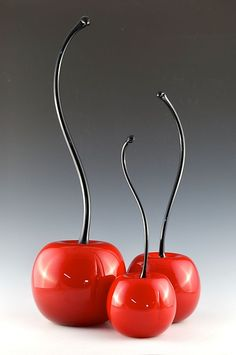 Red Cherries with Curved Stem by Donald  Carlson: Art Glass Sculpture available at www.artfulhome.com