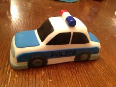 Fondant police car, shaped with rice Krispy, covered with fondant